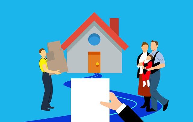 - rodina stěhující se do nového domu